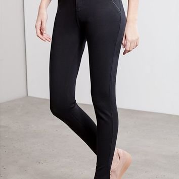 Body shape leggings with leather look edging - LEGGINGS - WOMAN | Stradivarius United Kingdom