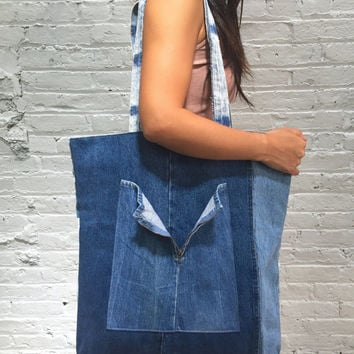 upcycled denim tote bag / reconstructed vintage denim bag / oversized patchwork denim carryall travel bag