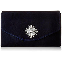 Jessica McClintock Womens Bonnie Velvet Embellished Evening Clutch