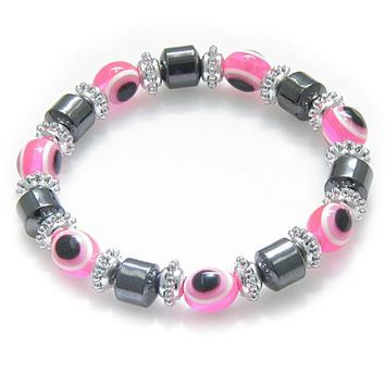 Evil Eye And Protection Magnetic Pink Eyes Hematite Bracelet