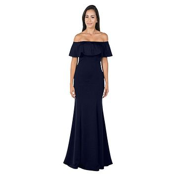 Navy Blue Off-the-Shoulder Mermaid Long Formal Dress