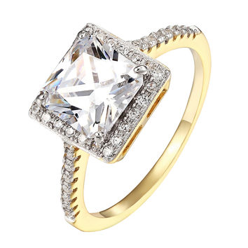 Princess Cut Halo Ring Cubic Zirconia 14k Gold Over Sterling Silver Wedding New