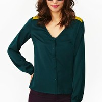 Two Tone Drape Blouse