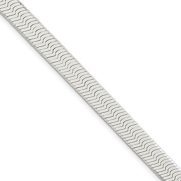 Men's 8mm, Sterling Silver Solid Herringbone Chain Necklace