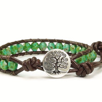 Tree of Life Leather Bracelet, Beaded Bracelet, Green Bracelet