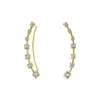 Curved Ear Pin Earrings CZ Crawlers 14K Gold Plated Sterling Silver