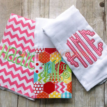 Girl burp cloth set, Pink - Applique and Monogram baby gift