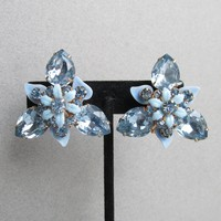 BIG 1950's Vintage Baby BLUE Tear Drop Rhinestone & Lucite Flower Earrings
