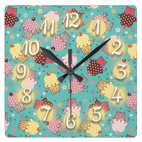 Cute Blue with Pink and Yellow Cupcakes Square Wallclocks