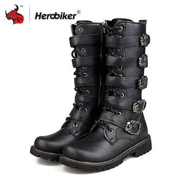 Men's BOOTS Punk Dr Martin Style PU Leather Mid-calf Buckle shoes