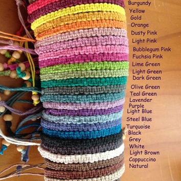 Handmade Hemp Friendship Bracelet or Anklet Square or Twisted Macrame Knot - 25 colours