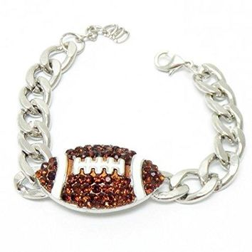 Football Bracelet Chunky Z1 Brown Crystal Silver Tone Sports