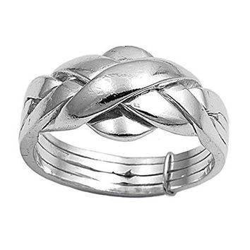 Sterling Silver 4 pcs Band Puzzle Ring 11mm ( Size 5 to 15) Size 6
