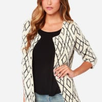 Crossroads Black and Cream Sweater
