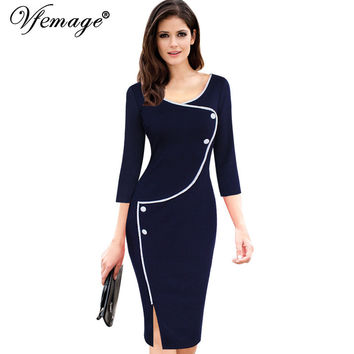 Vintage Brief Split Bottom Elegant Casual Work 3/4 Sleeve Deep O-Neck Dress
