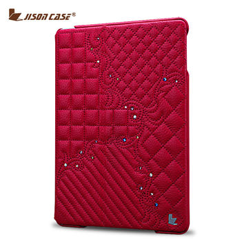 Jisoncase Luxury Leather Case For iPad 2 3 4 Fashion Design Slim Stand Cover With Embroidery And Bling Diamond