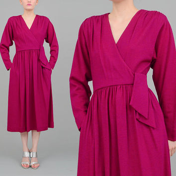 Purple 70s 80s Midi Dress LANZ Dress Wool Knit Dress V Neck Full Skirt 1970s Fuchsia Wrap Dress XS S