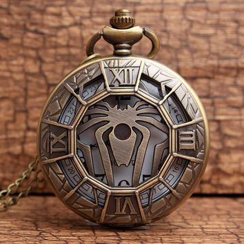 Vintage Bronze Spider-shaped Hollow Quartz Watches Necklace Pendant Pocket Watches Gifts for men and women