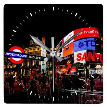 Fantasy Glowing Piccadilly London At Night Named Square Wall Clock