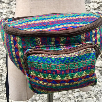 Woven Belt bag Tribal Fanny pack Festival Hip purse Aztec Ikat Hippie Waist Pouch hip sack phanny Gypsy Bohemian Hipster Vegan gift Men wome