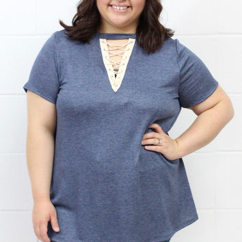 Curvy: Lace Up Insert Solid Short Sleeve Top {H. Navy}