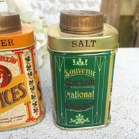 Retro tin salt and pepper shakers, Advertising, Steamship Bradford's, kitchen décor, spice, green, yellow, spice