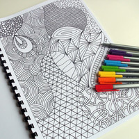 Coloring Book Zentangle Inspired Printable Fun for by JoArtyJo