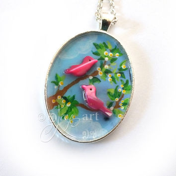 Birds on a branch, art pendant with necklace, original acrylic painting with bird beads, mini art, NOT A PRINT