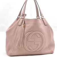 Authentic GUCCI Soho Leather Tote Bag Pink 50424