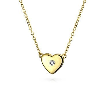 Small Heart Pendant Necklace CZ 14K Gold Plated 925 Sterling Silver