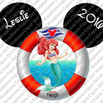 Little Mermaid Disney Cruise Life Preserver Mickey Mouse Head Personalized with Name and Date Printable Iron On Transfer Clip Art Tshirts