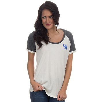 University of Kentucky Vintage Tailgate Tee in White and Heathered Grey by Lauren James - FINAL SALE