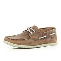 River Island MensTan leather boat shoes
