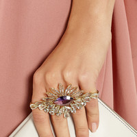 Ana Khouri | 18-karat gold multi-stone two-finger ring | NET-A-PORTER.COM
