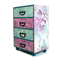 Large wood jewelry box, decoupage jubilee pink and teal collage 384