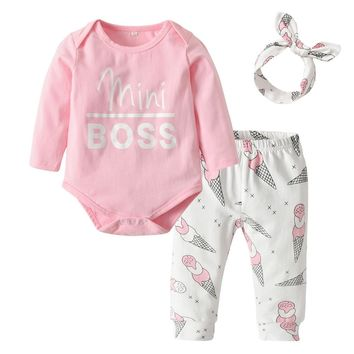 3Pcs Newborn Infant Baby Girls Clothes Set Long Sleeve Pink Mini Boss Romper+Ice Cream Print Pants+Headband Toddler Clothing