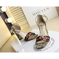 GUCCI Women Buckle Leather Heels Shoes