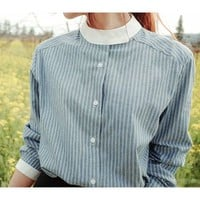 Band-Collar Pinstriped Shirt