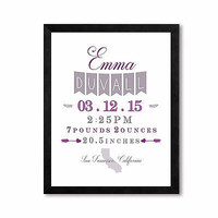 Custom Personalized Baby Announcement Purple and Gray, Nursery Decor Art Print