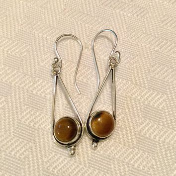 Tigers Eye teardrop sterling silver earrings