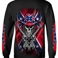 Long Sleeve Shirt Rebel Flag Cowboy Skeleton
