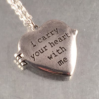 i carry your heart with me Heart Locket Necklace, ee cummings, Heart Locket, Holiday Gift, Mother's Day, Wedding Gift
