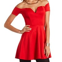 Structured Deep V-Cut Skater Dress