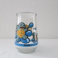 14-1006 Vintage Welch's Jelly Jar Cup Pokemon / #07 Squirtle / Bright Painted on Clear Glass / Pokemon Glass Cup