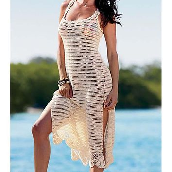 Sexy Knitted Beach Cover up Saida de Praia Swim suit cover up Beach Tunic for Women Crochet Bikini cover up Beach Dress