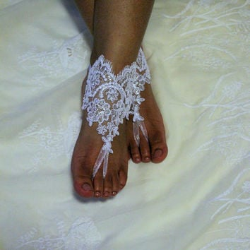2ca153a958f948 Lace Beach Wedding Barefoot Sandal White Silver Bridal Foot Jewelry Footless  Sandles Beaded Barefoot Sandals
