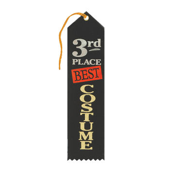 "Beistle Halloween Celebration Birthday Party Best Costume 3rd Place Award Ribbon 2"""" x 8"""" Pack of 6"