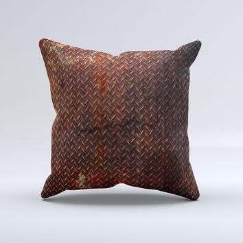 Rusty Diamond Plate Texture ink-Fuzed Decorative Throw Pillow