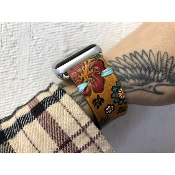 Hibiscus Flower Leather Apple Watch Band 38mm 40mm