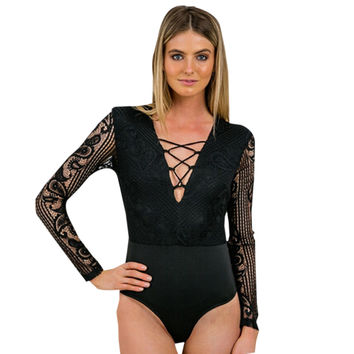 Lace Transparent Sexy Bodysuit